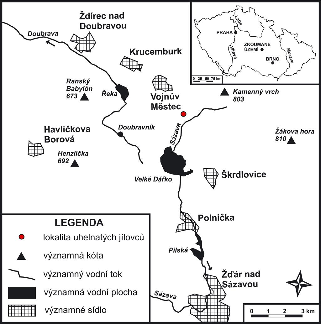 Obr. 1. Poloha lokality uhelnatých jílovců u Vojnova Městce. Fig. 1. Location of the site of coal claystones near Vojnův Městec.