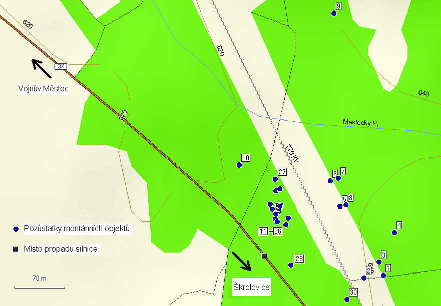 Obr. 2. Lokalizace pozůstatků montánních aktivit (podkladová mapa – upraveno podle MapSource, ver. 6.13.5). Fig. 2. Localization of the montane activity remains (modified by MapSource, ver. 6.13.5)