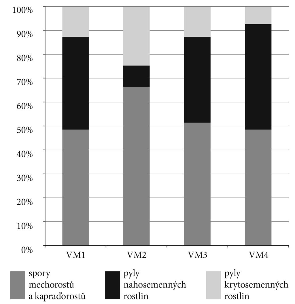 Obr. 5. Relativní zastoupení rostlinných mikrofosílií na lokalitě u Vojnova Městce. Fig. 5. Relative representation of the microfossils in the site near Vojnův Městec.